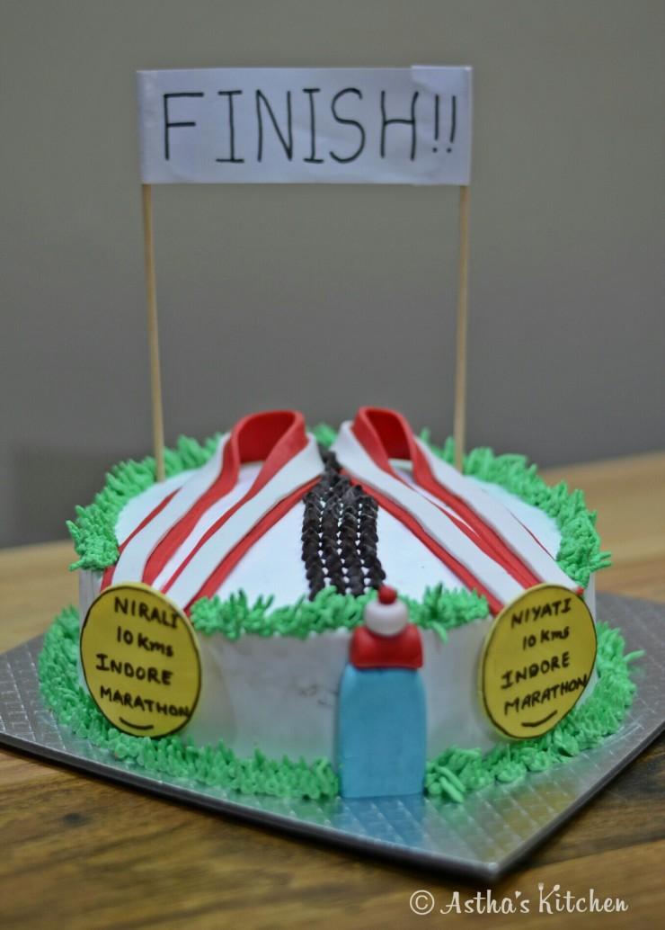 Marathon Theme Cake Egg Less Chocolate Cake Topped With Fondant